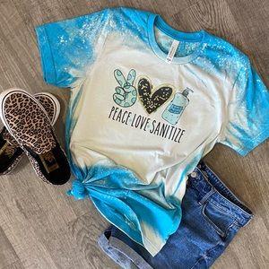 Peace love sanitize bleached ombré tshirt
